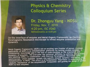 Physics & Chemistry Colloquium Series: Dr. Zhongyu Yang, NDSU; Enzyme and Metal-Organic Framework @ ISC 260